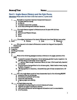 Beowulf- Test and Answer Key (Raffel Translation)