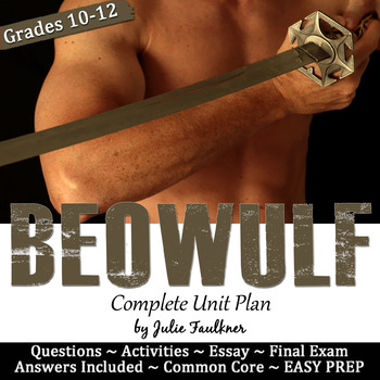 Beowulf Literature Guide, Unit, Creative, Info Text, Task Cards, Essay, Test