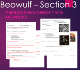 "Beowulf - ""The Battle with Grendel"" with ANSWER KEY Questi"
