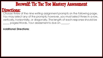 Beowulf: Tic Tac Toe Mastery Assessment