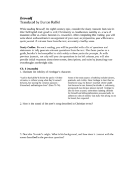 Beowulf Unit: Essay Prompt, Study Guide, Quote Journal, Quiz