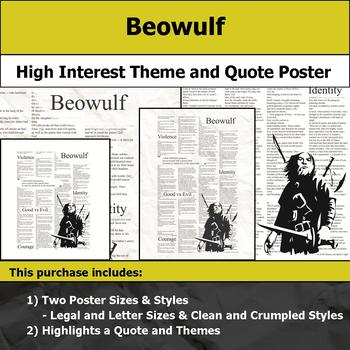 Beowulf - Visual Theme and Quote Poster for Bulletin Boards
