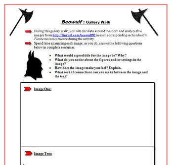 Beowulf and Anglo Saxon Gallery Walk: Writing and Image Analysis Activity