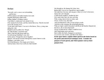 Beowulf and Hrothgar Speech Comparison