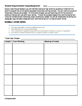 Beowulf argumentative essay topics with graphic organizer sheet collect evidence