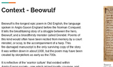 Beowulf extracts: vocabulary, discussion and writing