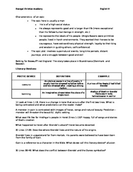 Beowulf worksheet (with answer key)