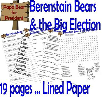 Berenstain Bears Big Election : Reading Comprehension Presidents' Day 19p Packet
