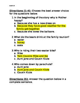 Berenstain Bears' Family Reunion Comprehension Questions