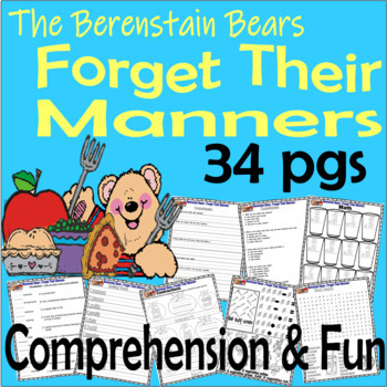 Berenstain Bears Forget Their Manners Comprehension Activity Packet LINED PAPER