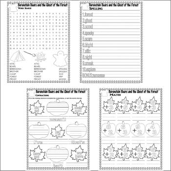 Berenstain Bears Ghost Forest Halloween Comprehension Activity Pack LINED PAPER