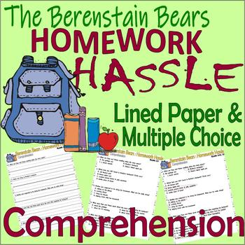 Berenstain Bears Homework Hassle Multiple Choice Questions Reading Comprehension