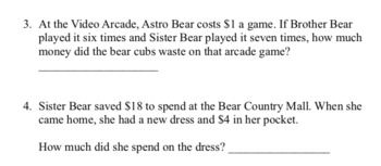 Berenstain Bears Math Word Problems About Money (Addition & Subtraction)