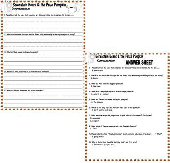 Berenstain Bears Prize Pumpkin Thanksgiving Comprehension : Lined Paper