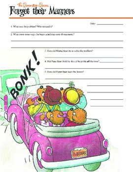 Berenstain Bears Reading Worksheet