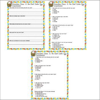 Berenstain Bears Real Easter Eggs Comprehension  & Multiple Choice Questions