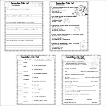 Berenstain Bears Trick Treat Halloween Comprehension Activity Pack LINED PAPER