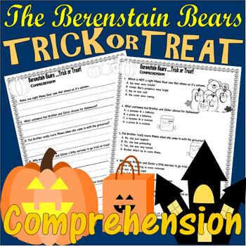 Berenstain Bears Trick Treat Halloween Comprehension LINED PAPER & Multiple Ch