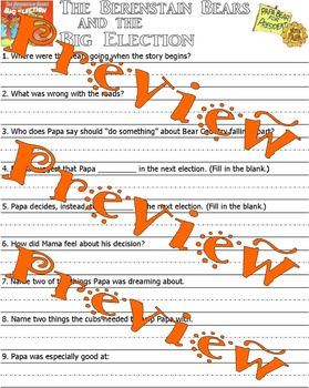 Berenstain Bears and the Big Election : Comprehension and Reflection Worksheets