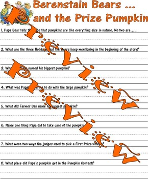 Berenstain Bears ... and the Prize Pumpkin : Thanksgiving Comprehension sheets