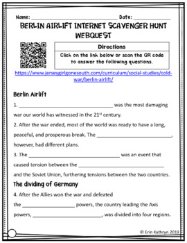 Berlin Airlift Cold War Differentiated Internet Scavenger Hunt WebQuest Activity