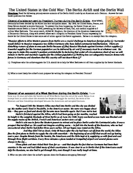 Berlin Airlift/Berlin Wall Common Core Text-based Answers Activity
