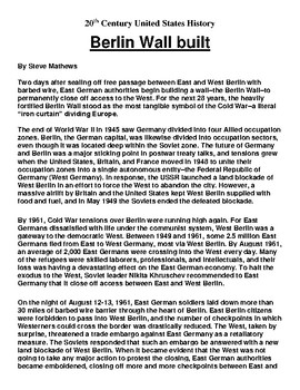 Berlin Wall Article and Summary Assignment
