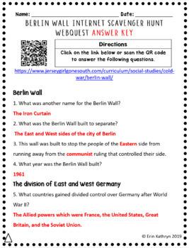 Berlin Wall Cold War Differentiated Internet Scavenger Hunt WebQuest Activity