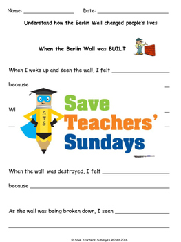Berlin Wall Lesson plan and Writing frame / Sentence starters