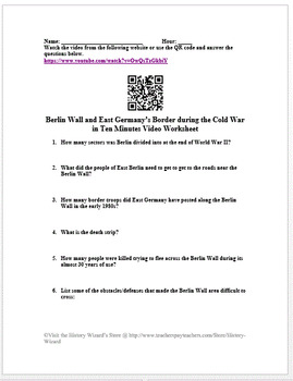 Berlin Wall and East Germany's Border in 10 Minutes Cold War Video Worksheet