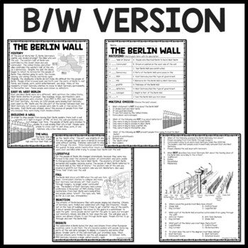 Cold War- Berlin Wall Reading Comprehension Worksheet DBQ, Communism, Germany