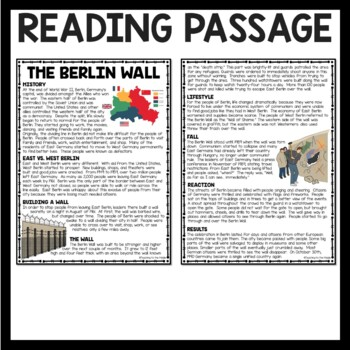 Cold War- Berlin Wall Reading Comprehension Worksheet DBQ, Communism, Germany