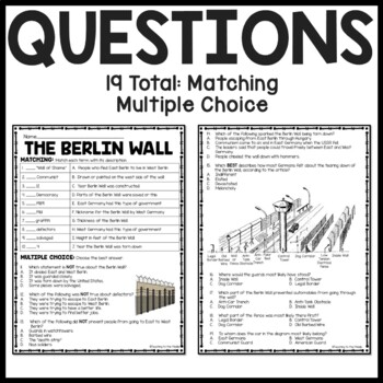 Cold War Berlin Wall Reading Comprehension Worksheet and DBQ