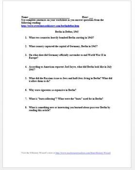 Berlin in Defeat, 1945 World War II Primary Source Worksheet