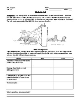Berlin wall activity by Social Studies - Middle School ...