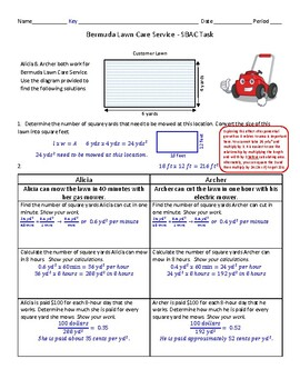 Bermuda Lawn Care Services – 7th Grade SBAC Math Performance Task (PT) Test Prep