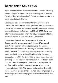 Bernadette Soubirous Handout