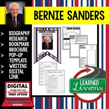 Bernie Sanders Biography Research, Bookmark Brochure, Pop-Up, Writing, Google