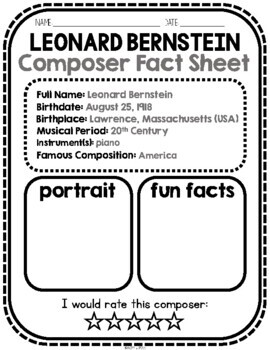 NEW! Bernstein, Classical Composer, August, Autumn, Handwriting, Music, Piano