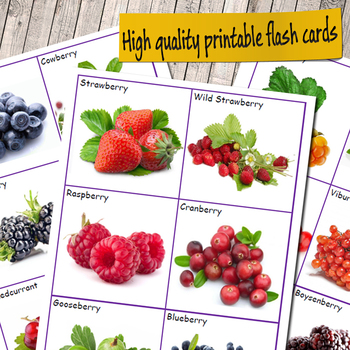 Types of Berries Flashcards (Vocabulary flash cards)