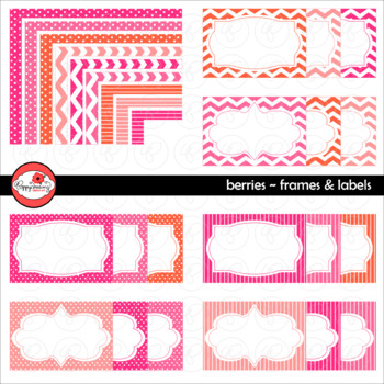 Berries Frames and Labels Digital Borders Clipart by Poppydreamz