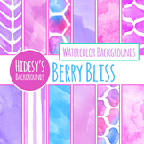 Berry Bliss Hand Painted Watercolor Digital Papers / Backgrounds / Clip Art
