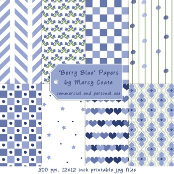 Berry Blue Printable Papers by Marcy Coate