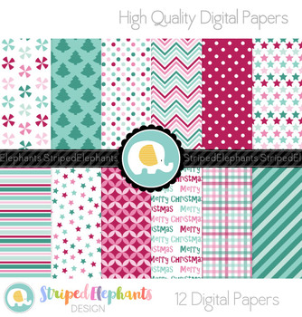 Berry Christmas Digital Papers