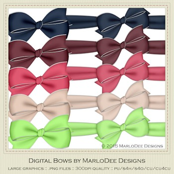 Berry Colors Digital Bow Graphics package 2