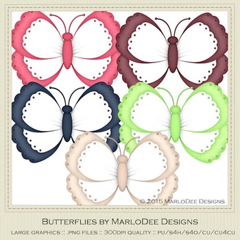 Berry Colors Digital Butterfly Graphics