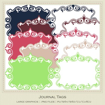 Berry Colors Digital Journal Tag Graphics