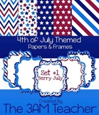 Berry July: 4th of July Themed Digital Backgrounds & Frames - Clip Art
