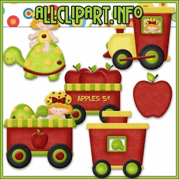 BUNDLED SET - Berry Sweet Choo Choo (Apple) Clip Art & Digital Stamp Bundle