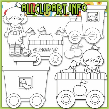 BUNDLED SET - Berry Sweet Choo Choo (Cherry) Clip Art & Digital Stamp Bundle